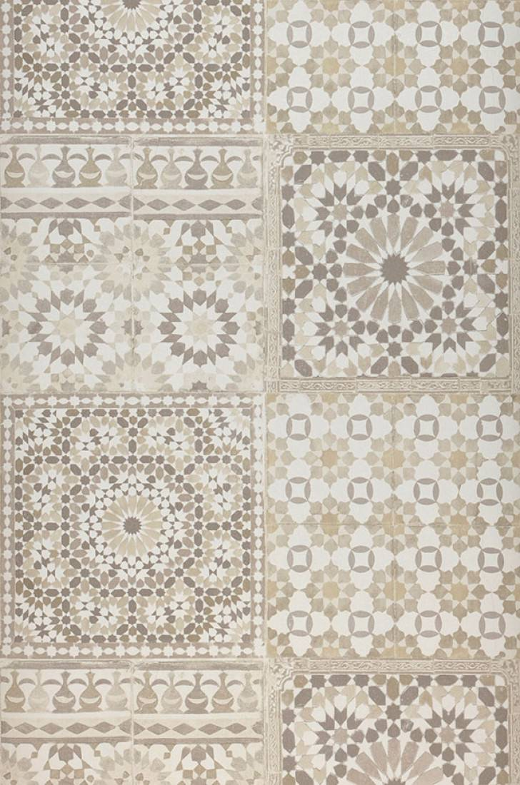 Wallpaper Azulejos Beige Cream Grey Beige Sepia Brown