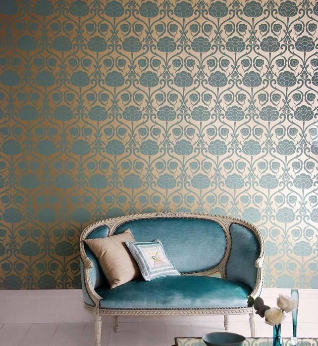 Wallpaper Damkina Matt pattern Shimmering base surface Floral damask Gold Pastel turquoise