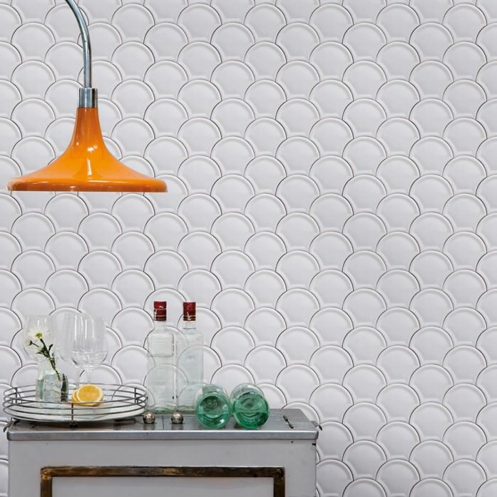 Wallpaper Scales Shimmering Imitation tiles Grey white Black brown White grey