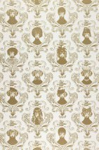 Wallpaper Tillsammans Matt Baroque damask Portraits of dogs White Grey beige