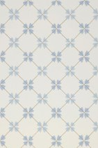 Wallpaper Dagrun Hand printed look Matt Blossoms Plaid Cream Pastel blue Pearl gold