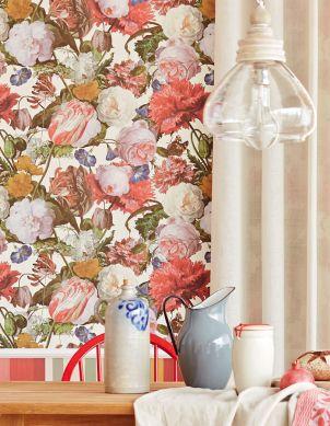 Papel pintado Doriana rojo fresa Ver habitación