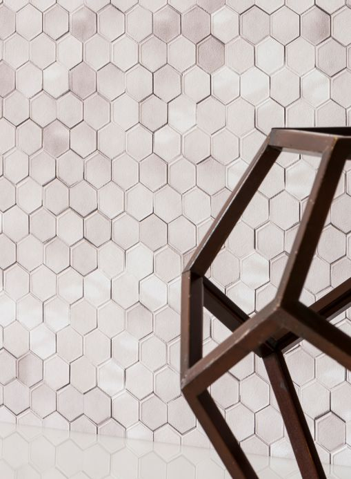 Geometric wallpaper Wallpaper Kaydo grey white Room View