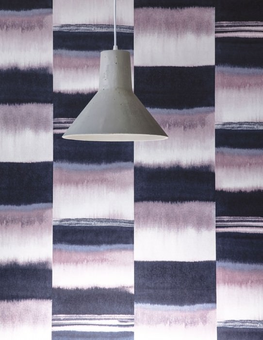 Wallpaper Fenegra Matt Graphic elements Stripes Grey blue Pastel violet Pigeon blue White