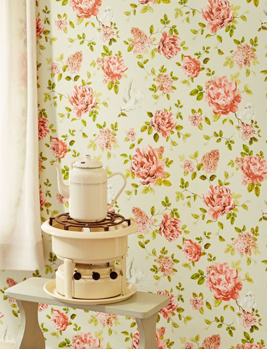 Wallpaper Swetta Matt Flower tendrils Dots Birds Cream Beige red Yellow green Red orange White