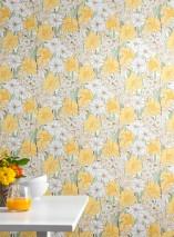 Wallpaper Padme Hand printed look Matt Flowers White Pale brown Pale green Cream Light yellow