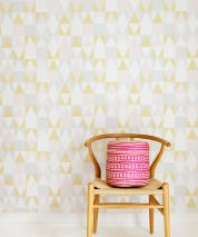 Wallpaper Alice Hand printed look Matt Geometrical elements Pale grey Cream Pale pink Lemon yellow