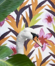 Wallpaper Jemima Hand printed look Matt Leaves Flowers White Light green Light violet Orange Red Black