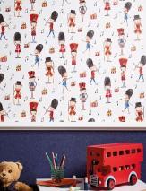 Papel de parede Clark Mate Notas musicais Pessoas Soldados Tambores Branco creme Azul Laranja Vermelho rubi Cinza negrusco