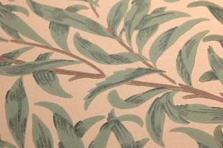 Wallpaper Darcie Hand printed look Matt Leaf tendrils Cream Brown Shades of green