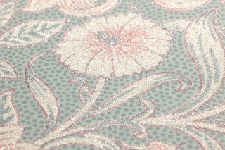 Wallpaper Karoline Shimmering pattern Matt base surface Leaf tendrils Blossoms Pale turquoise Mint turquoise Antique pink Light ivory shimmer Wine red