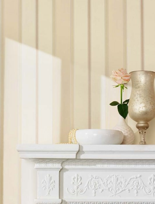Wallpaper Tatex Matt Looks like textile Stripes Cream Beige Light ivory Silver