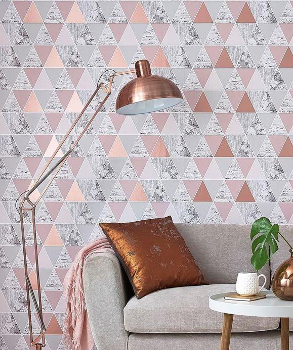 Papel pintado geométrico Papel pintado Zento rosa palo perlescente Ver habitación