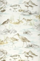 Tapete Arielle Matt Sterne Vögel Wellen Cremeweiss Beigegrau Grau Minttürkis Olivgelb
