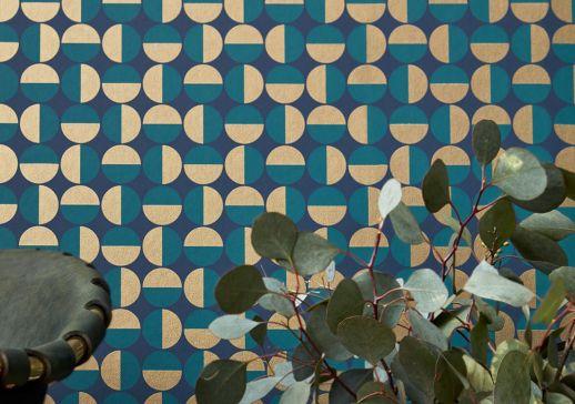 Papier peint Wahida bleu d'eau Vue pièce