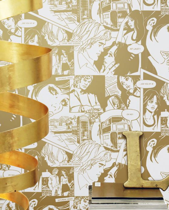 Carta da parati originale Carta da parati Comic Love oro perlato Visuale camera