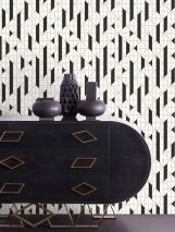Wallpaper Gasco Matt Geometrical elements Pearl gold Cream Black