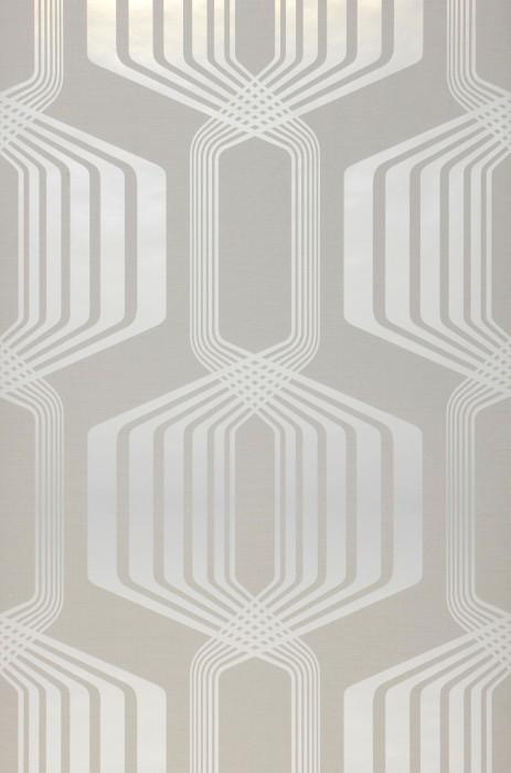 Papel pintado Rumba Patrón brillante Superficie base mate Elementos retro Gris blancuzco Blanco perla lustre