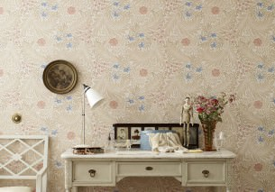 Wallpaper Kari Matt Leaves Flowers White Beige Beige red Brilliant blue Pigeon blue Wine red