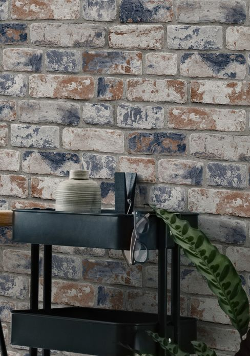 Industrial Style Wallpaper Wallpaper Sabal blue grey Room View