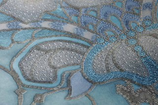 Wallpaper Malsumi Shimmering Art nouveau damask Turquoise blue Azure blue Silver grey