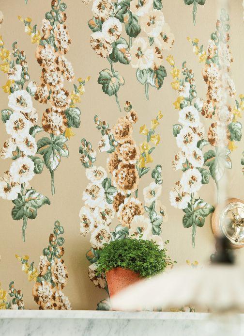Papel pintado floral Papel pintado Wanda beige Ver habitación