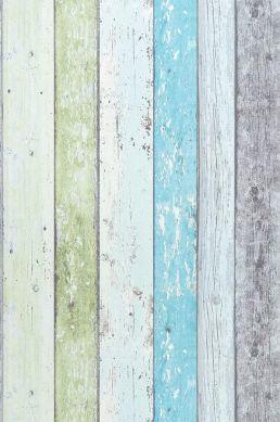 Papel pintado Old Planks turquesa pastel Ancho rollo