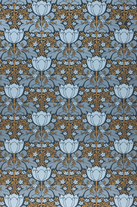 Wallpaper Marina Shimmering pattern Matt base surface Leaves Flowers Granite grey Blue-grey pearl lustre Golden yellow pearl lustre White blue