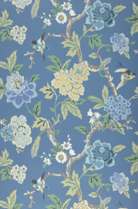 Wallpaper Sloana Hand printed look Matt Birds Branches with leaves and blossoms Brilliant blue Pale brown Shades of blue Green Light yellow