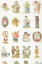 Wallpaper Vintage Scraps Matt Vintage pictures Cream Yellow Green Light blue Rose Red