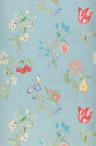 Wallpaper Mallorie Matt Blossoms Fruits Birds Pastel turquoise Green Red Turquoise blue Violet blue