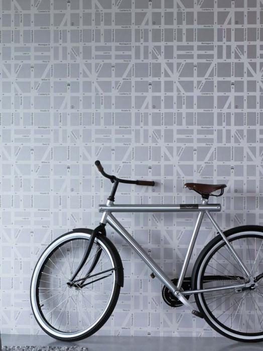 Wallpaper Pluto Shimmering pattern Matt base surface City map Light grey Cream Black grey