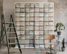 Wallpaper Container Matt Old metal containers Pale green Grey white Orange brown   Sepia brown