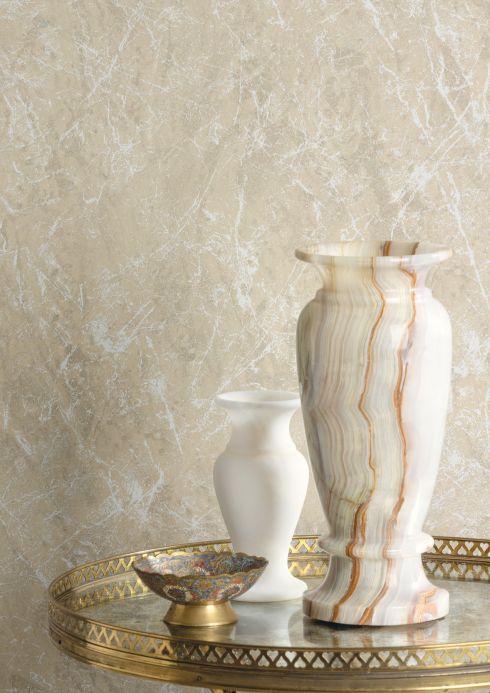Papier peint pierre Papier peint Moscato Marble beige Vue pièce
