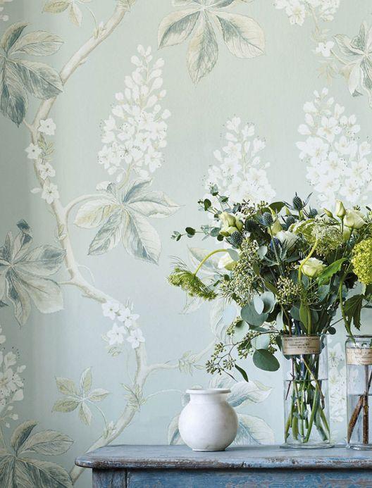 Papel pintado floral Papel pintado Hera beige verdoso Ver habitación