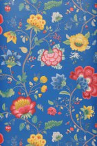 Wallpaper Belisama Matt Leaves Flower tendrils Bugs Gentian blue Beige grey Blue Golden yellow Raspberry red Patina green