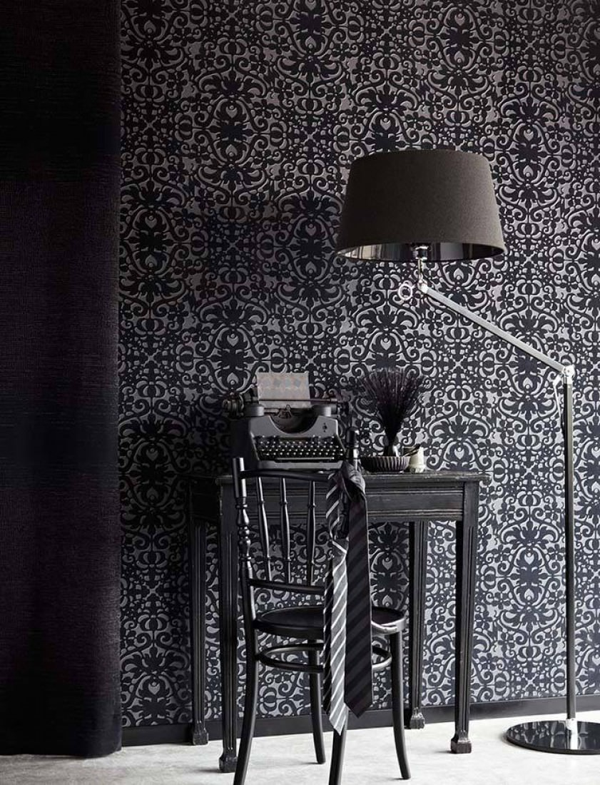 papier peint juventas gris noir gris argent papier peint des ann es 70. Black Bedroom Furniture Sets. Home Design Ideas
