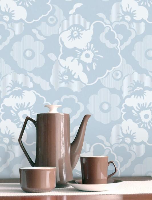 Papier peint Catia Mat Fleurs Bleu clair Blanc bleu