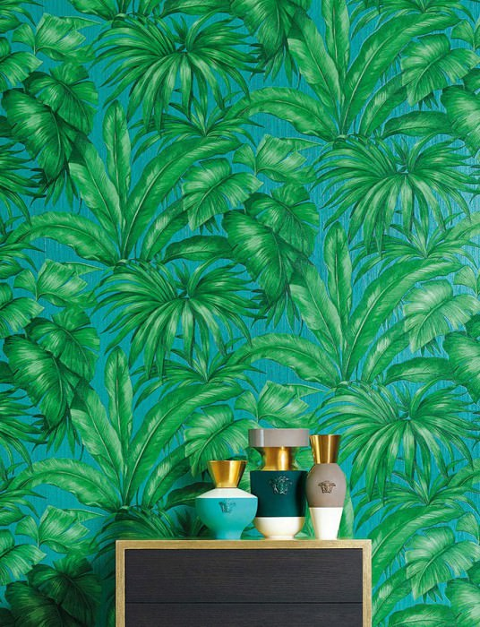 Wallpaper Yasmin Matt Leaves Turquoise Shades of green