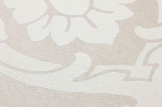 Papel pintado Maradila Patrón mate Superficie base brillante Damasco barroco Beige grisáceo claro Blanco grisáceo