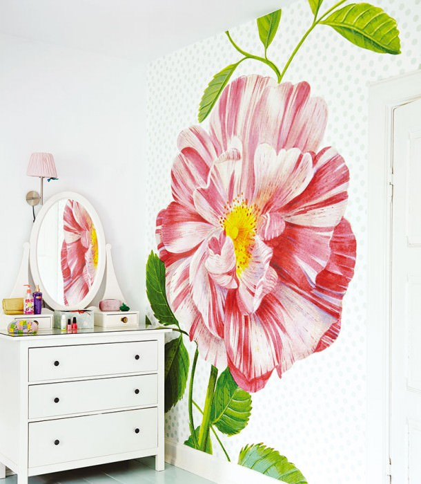 Wallpaper Dorli Matt Leaves Blossoms Cream Strawberry red Yellow Green White
