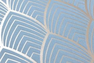 Carta da parati Soana Disegno opaco Superficie di base brillante Art Deco Archi Oro bianco Blu chiaro
