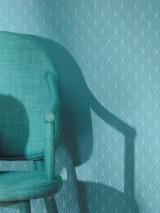 Papier peint Catriona Motif chatoyant Surface mate Art Déco Éléments graphiques Bleu turquoise Argenté brillant