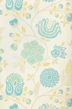 Wallpaper Macha Matt Flowers Cream Yellow green Mint turquoise Turquoise blue