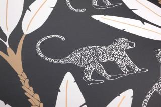 Papier peint Odette Mat Singes Art Déco Feuilles de bananier Noir Or nacré Blanc