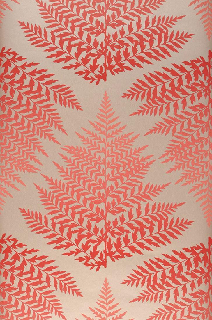 Wallpaper Mikura Matt Leaves Pearl Light Grey Red Roll Width