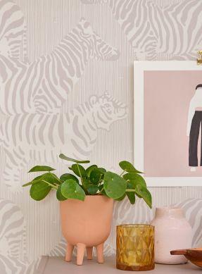 Wallpaper Safari Stripes grey beige Raumansicht