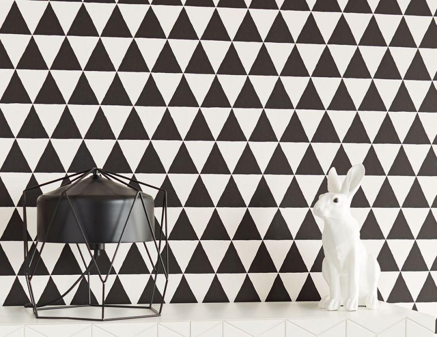 Geometric Wallpaper Wallpaper Eulan black Room View