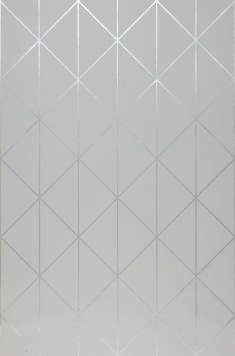 Wallpaper Biloba Shimmering pattern Matt base surface Triangles Plaid Light grey White aluminium