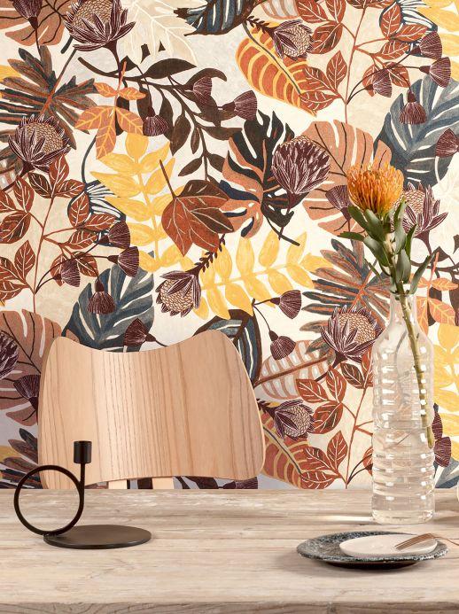 Papel pintado botánico Papel pintado Sunago tonos de marrón Ver habitación